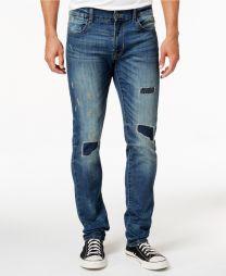 Elan Men's Slim Fit Stretch Rip & Repair Jeans