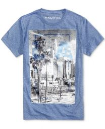 RYG01131 Men's LA Clear Graphic T-Shirt-Denim Blue