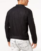 Phoenix Moto Men's Black Zip Denim Jacket W/Patches